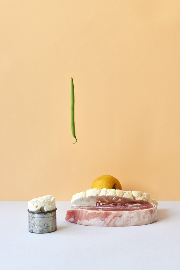 Camilla Wordie, Tasos, Gaitanos, Hix, Tramshed, photography, colour,studio, meant, food, stylist, hanging, background, mince meat, lamb, chicken, beef, steak, peas, lettuce, cauliflower, butter, orange, pink, blue, grey, ginger, lemon,
