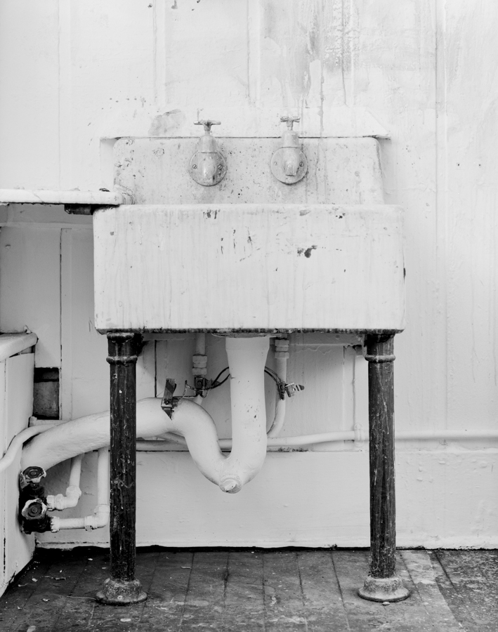 Sink, Belfast, Belfast Sink, ECA, artists, black and white, bw, natural light, studio, wear and tear, two legs, photography, fine art, sublime, stain, white on white, tasos gaitanos, 5x4, large format,